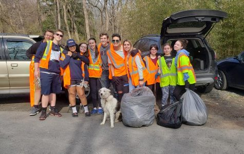 Spring play cast partakes in roadside clean-up