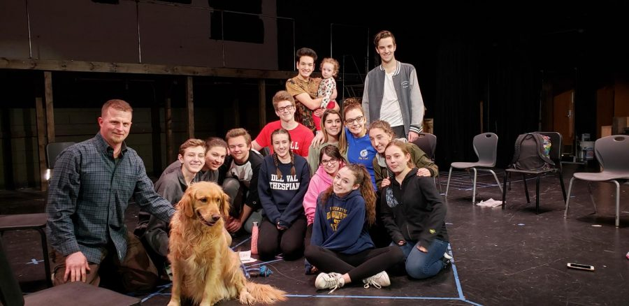 Chris Kurtz and his dog Charlie with the cast and crew of Del Val's spring play