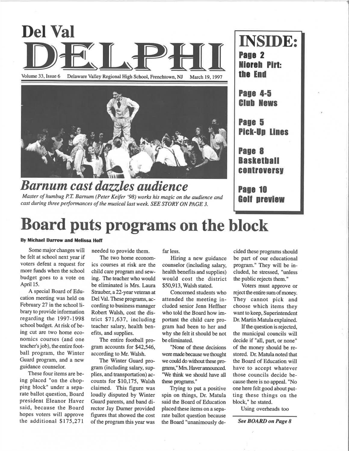 The cover of the March 19, 1997 issue of the Del Val Delphi
