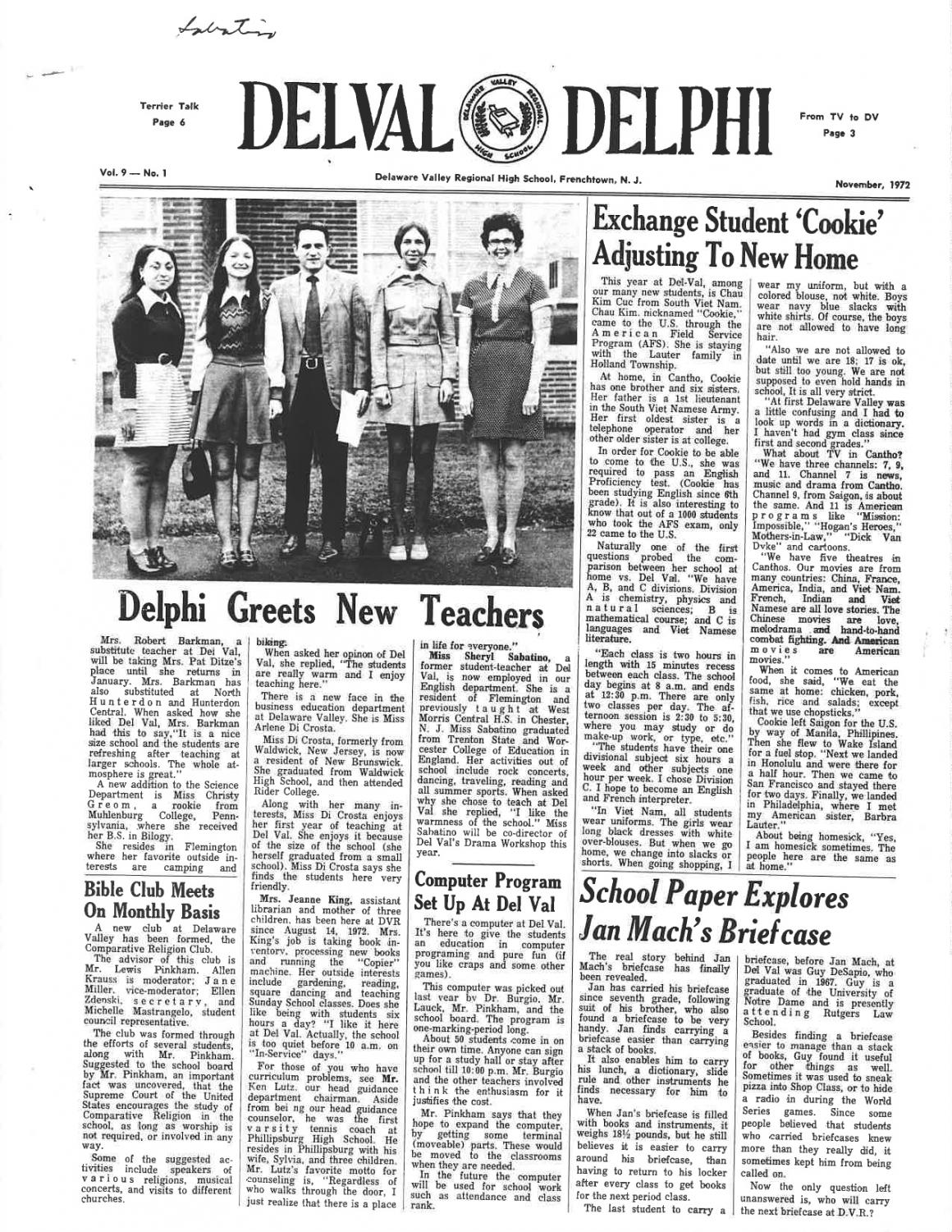 The cover of the November 1972 issue of The Delphi