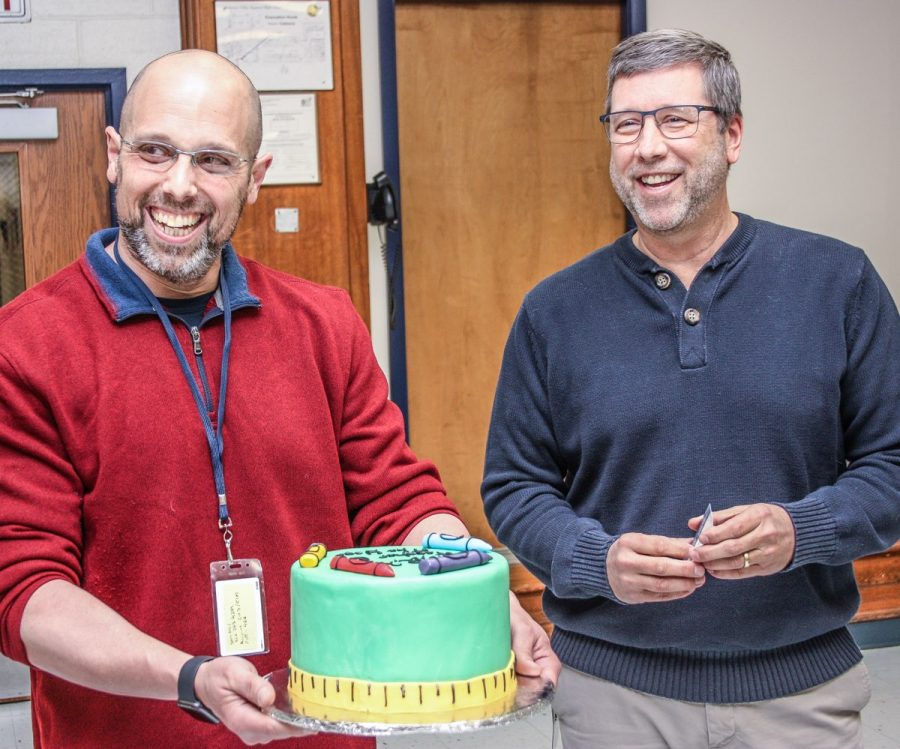 Mr. Jensen (right) was honored by Mr. Wright (left) as Teacher of the Year for the 2018-19 school year.