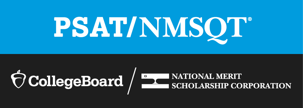 The Logo for the PSAT/NMSQT Exam, presented by CollegeBoard and the National Merit Scholarship Corporation