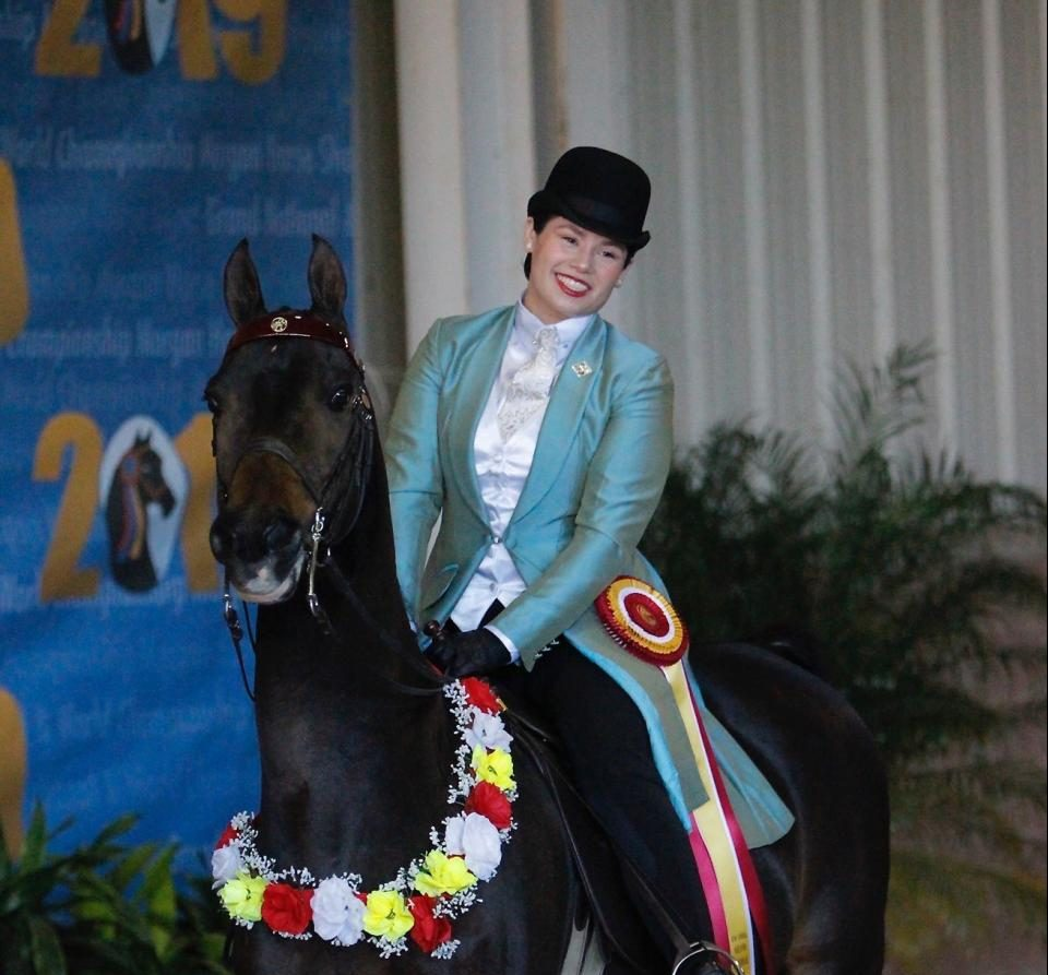 Sarah Hecht and her Morgan at the Grand National & World Championships in Oklahoma City