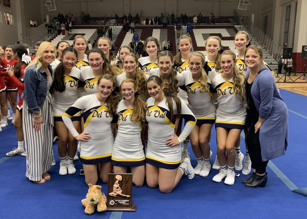 The Del Val Cheerleading Squad celebrates its 3rd consecutive Skyland Conference Valley Championship