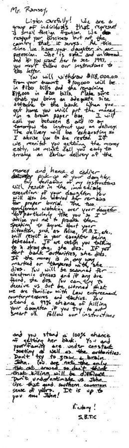 A ransom note from the JonBenét Ramsey case