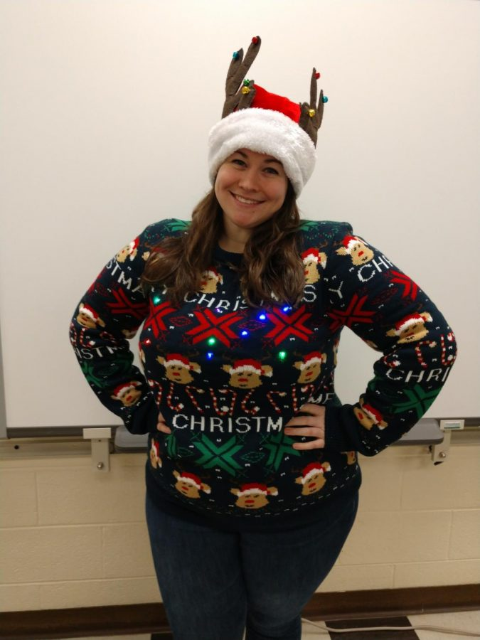 Miss. Severus' festive holiday sweater from last years Ugly Sweater contest.