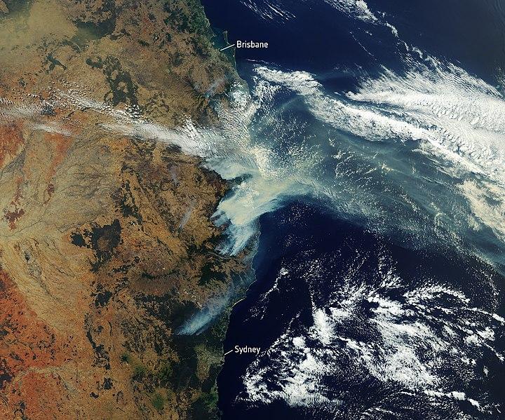 Satellite image of wildfires on the eastern coast of Australia.
