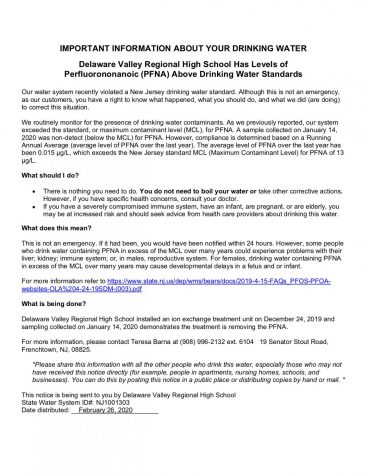 Update on Del Val water