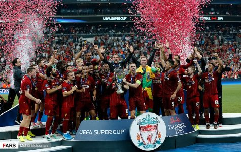 The Liverpool Football Club celebrate its 2019 UEFA Super Cup victory