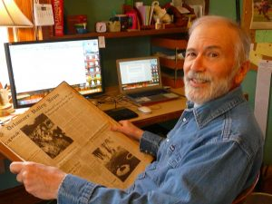 Mr. Rick Epstein, Del Val Media Center Assistant, researching for his book.