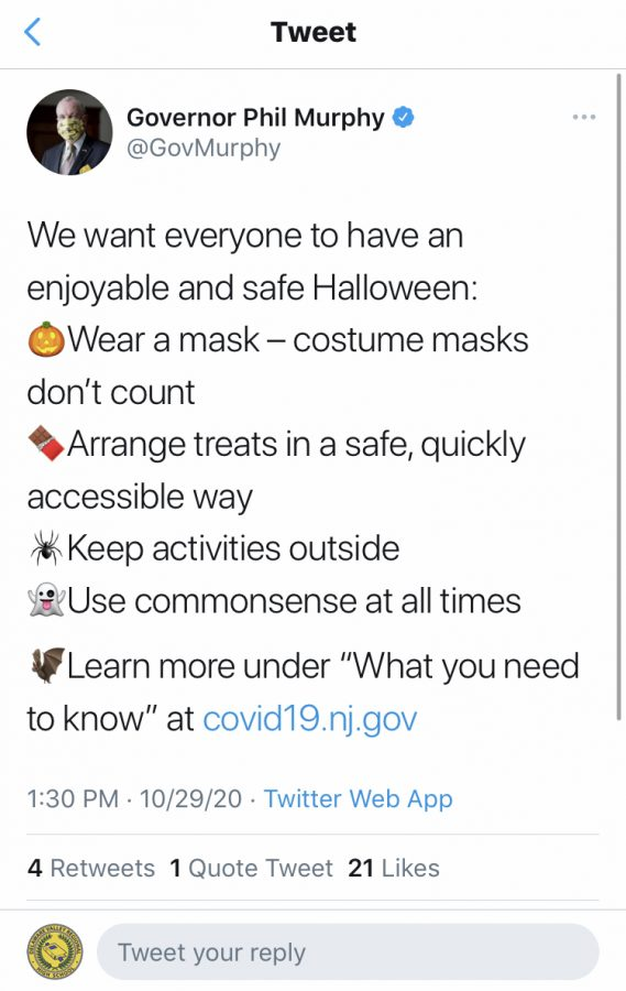 NJ Governor Phil Murphy's 10/29 tweet about safe Halloween celebrating protocols