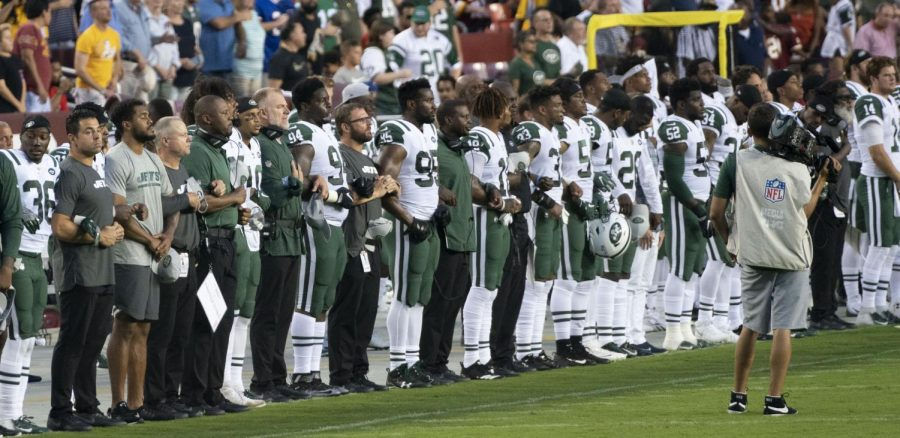 The New York Jets during the National Anthem. August 2018.