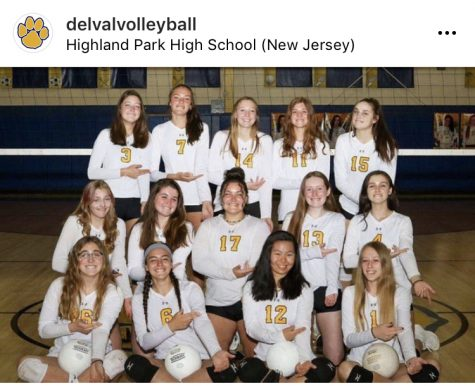 The Del Val Volleyball team at States at Highland Park High School.