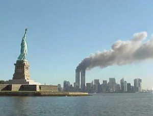 The Manhattan skyline after the first plane flew into the World Trade Center