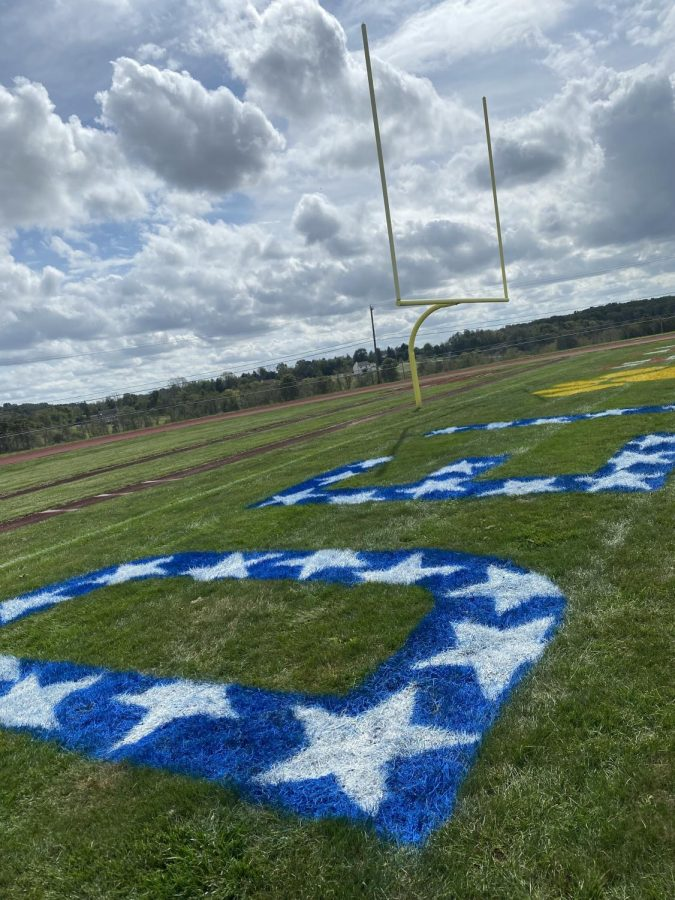 The Del Val end zone was redesigned for the 2021 Homecoming celebration.